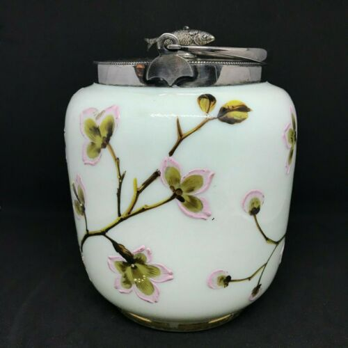 Victorian Heavily Enameled Cherry Blossoms Glass Biscuit-Cracker Jar-Fish Handle