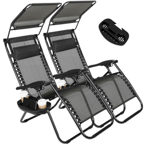 New 2 PCS Zero Gravity Chairs Lounge Patio Chairs w/Canopy Cup Holder Outdoor