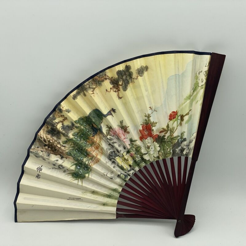 CHINESE REPUBLIC HAND PAINTED FAN WITH WRITING ON PAPER Birds Floral BLAD