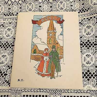 Vintage Greeting Card Christmas Couple Church Homemade
