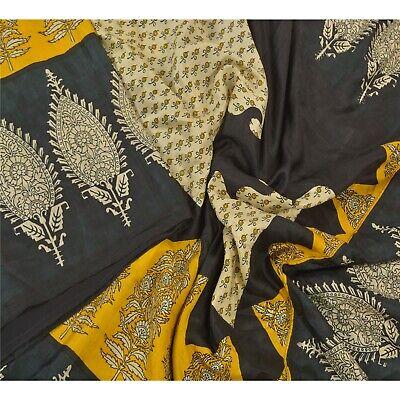 Vintage Sari 100/% Pure Silk Yellow Sarees Printed Decor 5Yd Craft Fabric