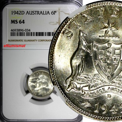 Australia George VI Silver 1942-D 6 Pence Sixpence NGC MS64 KM# 38