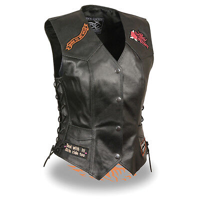 - Event Leather Women's Side Laces ''Love To Ride'' Vest *Pre-Patched* - ELL4900