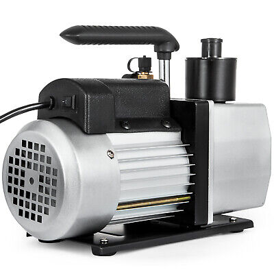 Dual Stage Vacuum Pump 5cfm 12hp Rotary Vane Deep Hvac Ac Air Tool Black