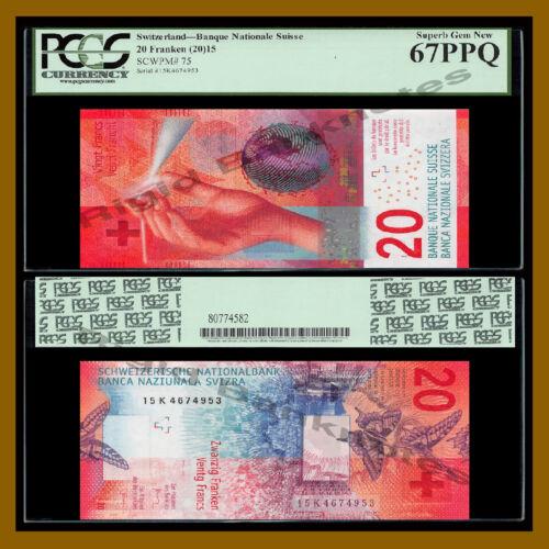 Switzerland 20 Franken (Francs), 2015 P-75 Error P Corrected P-76 PCGS 67 PPQ