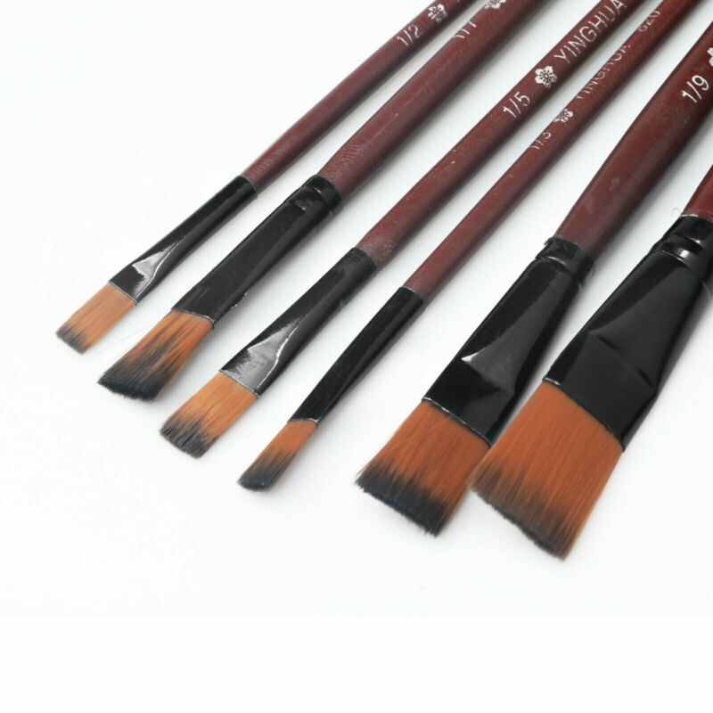 6pcs 1 Paint Brushes Set Nylon Brush for Oil Watercolor Artist Painting Art