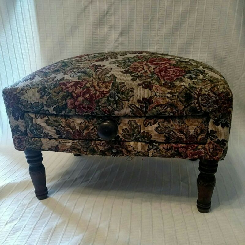 Vintage Needlepoint Footstool With Draw
