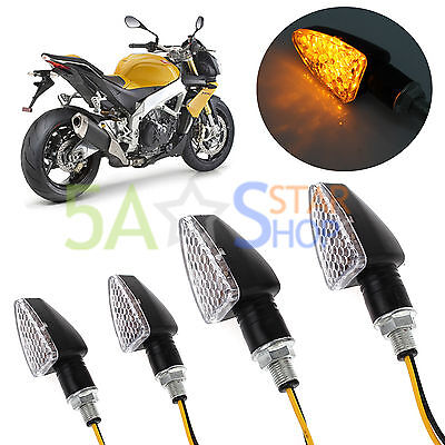 4X Universal Motorcycle Motorbike Turn Signal Indicators Turning Amber Light 12V
