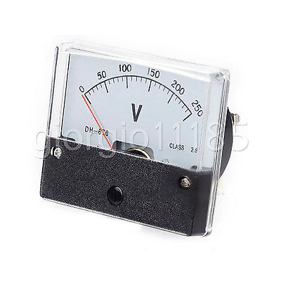 Us Stock Analog Panel Volt Voltage Meter Voltmeter Gauge Dh-670 0-250v Dc