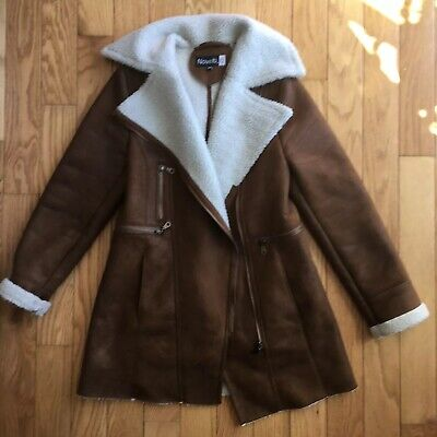 Novelti AJG Faux Suede Sherpa Lined Brown Jacket Small for sale  Midland