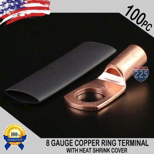 "100 PCS 8 AWG 8 GA Copper Ring Terminal Heat Shrink 5/16"" Hole Lug Connector US"
