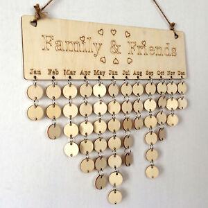 DIY Wooden Birthday Calendar Board Family Friends Sign Dates Hanging Decor Gift