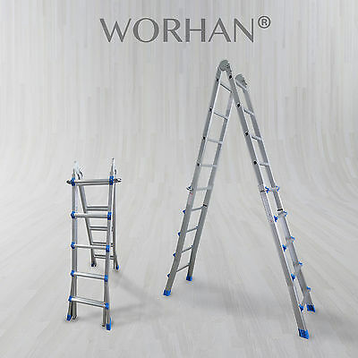 WORHAN® Escalera 530cm Telescopica de 5.3m Multiuso Alu Plegable Tijera L5