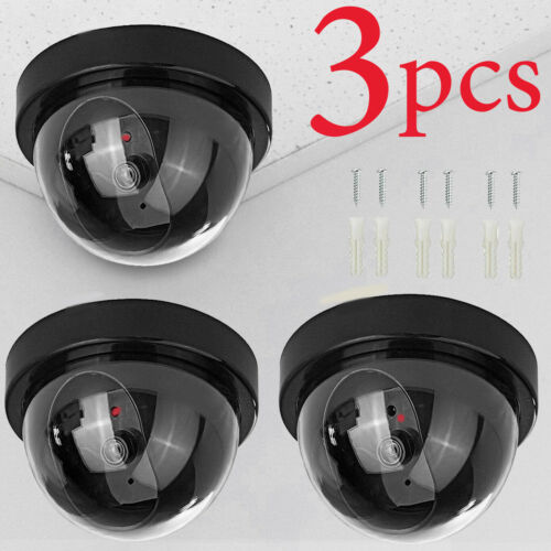 Fake Dummy Dome Surveillance Security Camera with LED Sensor Light
