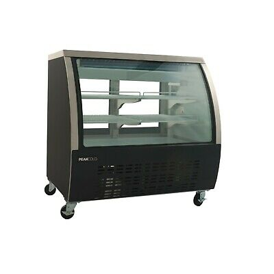 Peakcold Small 48 Curved Glass Refrigerated Deli Display Case - Black