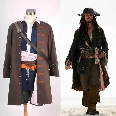 Pirates of the Caribbean Jack Sparrow Cosplay Kostüm Set Halloween Carnival