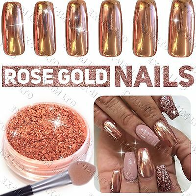 New ROSE GOLD NAILS POWDER Mirror Chrome Effect Pigment Nail Art UK SELLER (u)