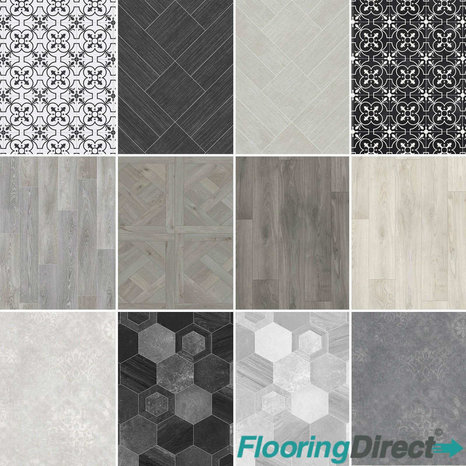Non Slip Vinyl Flooring Modern Grey Wood Tile Designs Kitchen Bathroom 2 3 4m Ebay