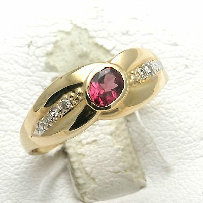 Vintage Pink Tourmaline Ring 14k yellow white gold Band 2 tone oval Estate