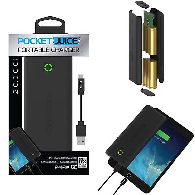 Portable Charger Pocket Juice 20,000 mAh 4674B Dual USB Great for iPhone iPad