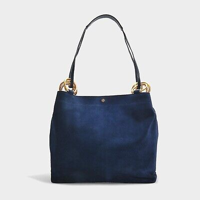 Tory Burch Farrah Tote Navy Silky Suede Excellent Condition Retail 558$ Sold Out
