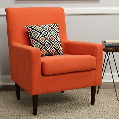 Contemporary Accent Arm Lounge Bucket Chair Deep Seat Upholstered Orange Fabric
