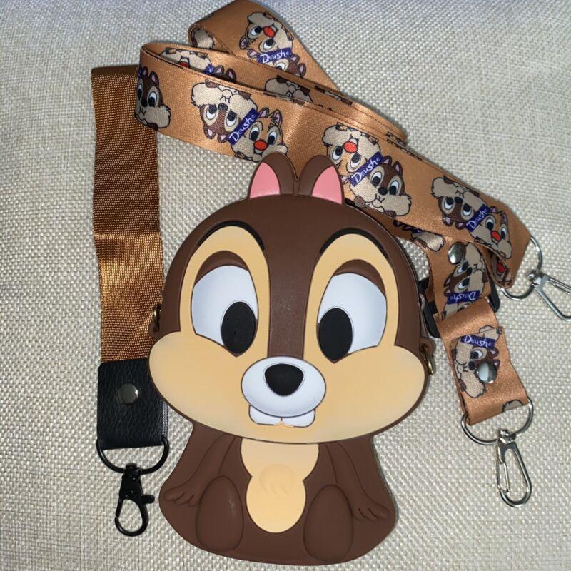 Chip Chipmunks rubber coin purse Wrist  two straps disney parks 5x4