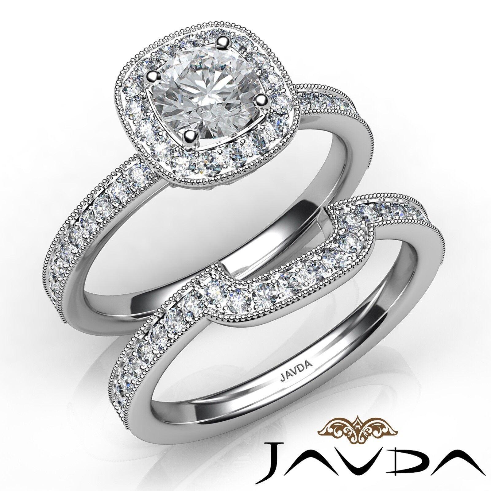 1.4ctw Milgrain Halo Bridal Round Diamond Engagement Ring GIA E-VS2 White Gold