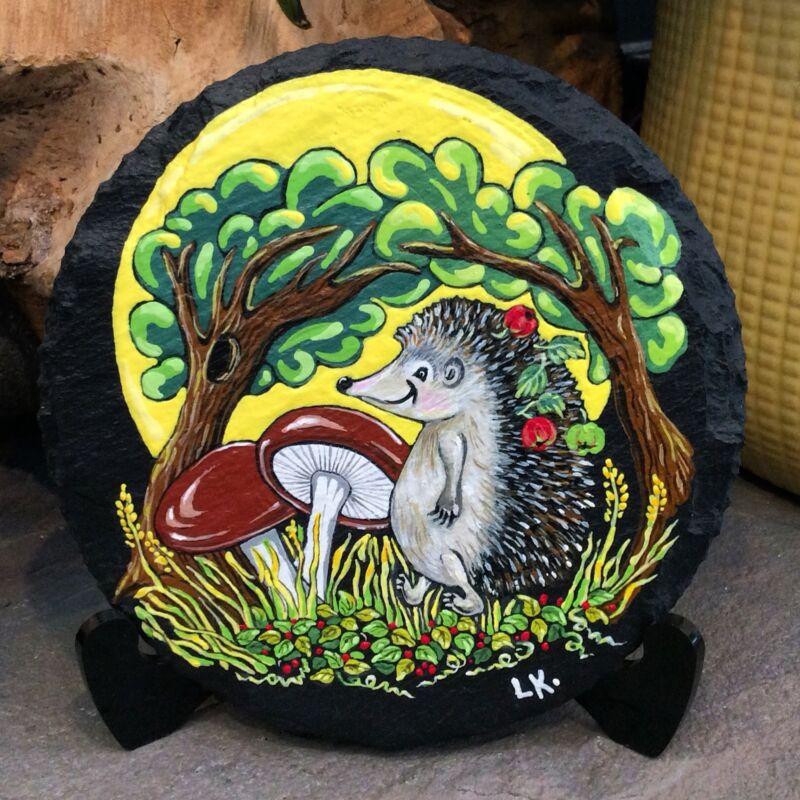 Hand Painted rock Hedgehog's forest life, illustration, slate round coaster