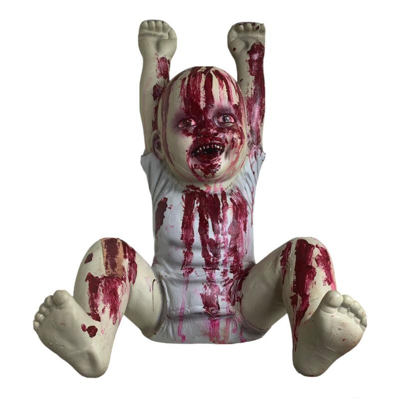 Spirit Halloween Zombie baby Hung Up Hank. Modified Spooky Season Decor - Bloody