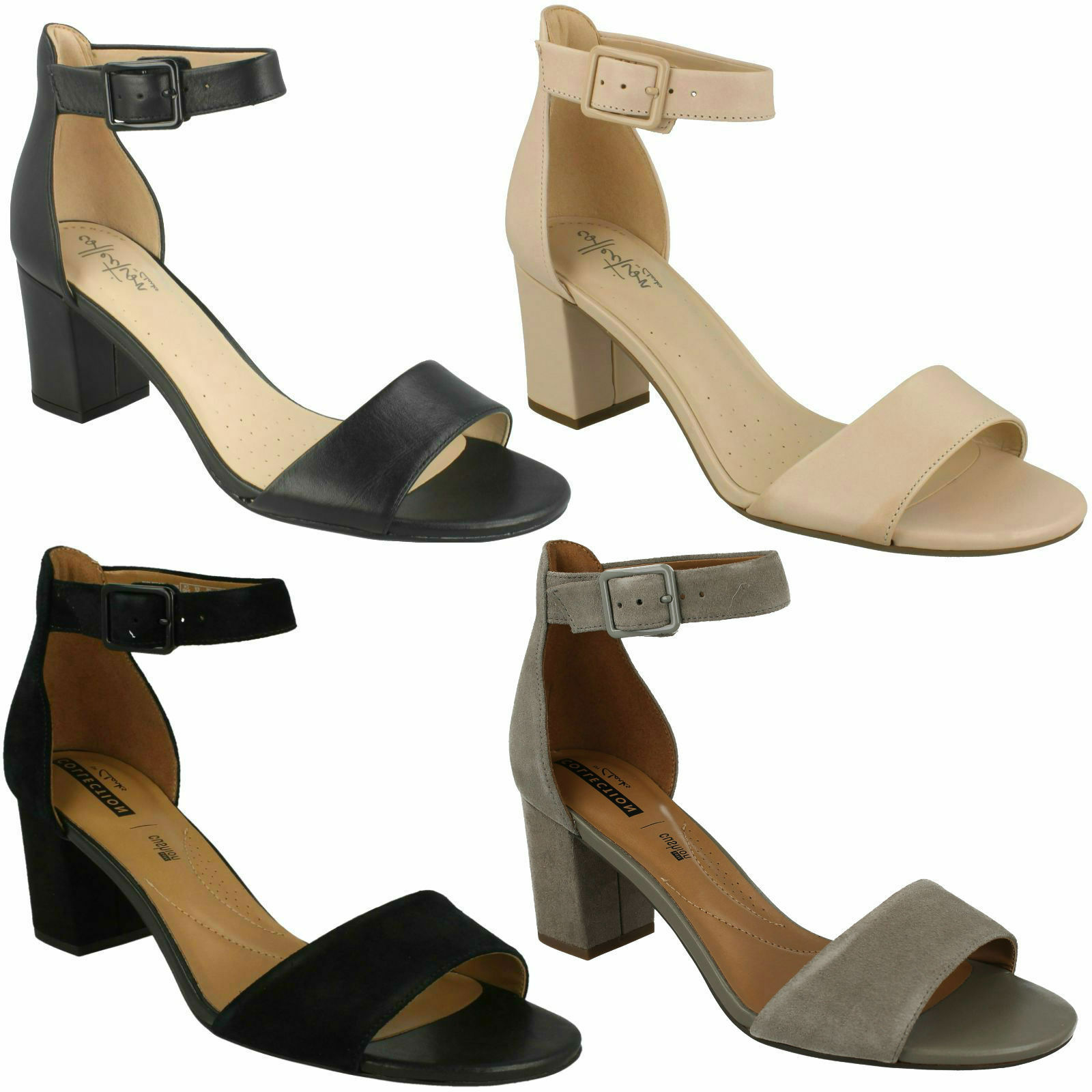 DEVA MAE LADIES CLARKS LEATHER OPEN TOE ANKLE STRAP BUCKLE HEELED SANDALS SIZE