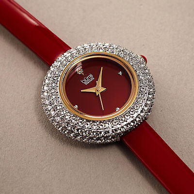 Women's Burgi BUR195RD Swarovski Crystal & Diamond Red Satin Leather Strap Watch