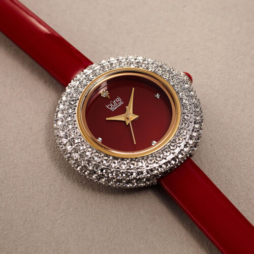 Women's Burgi BUR195RD Swarovski Crystal & Diamond Red Satin Leather Strap Watch