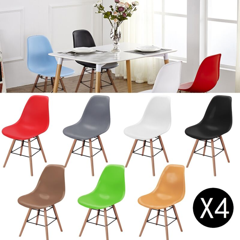 4x wooden chair retro lounge dining room set table chairs home office