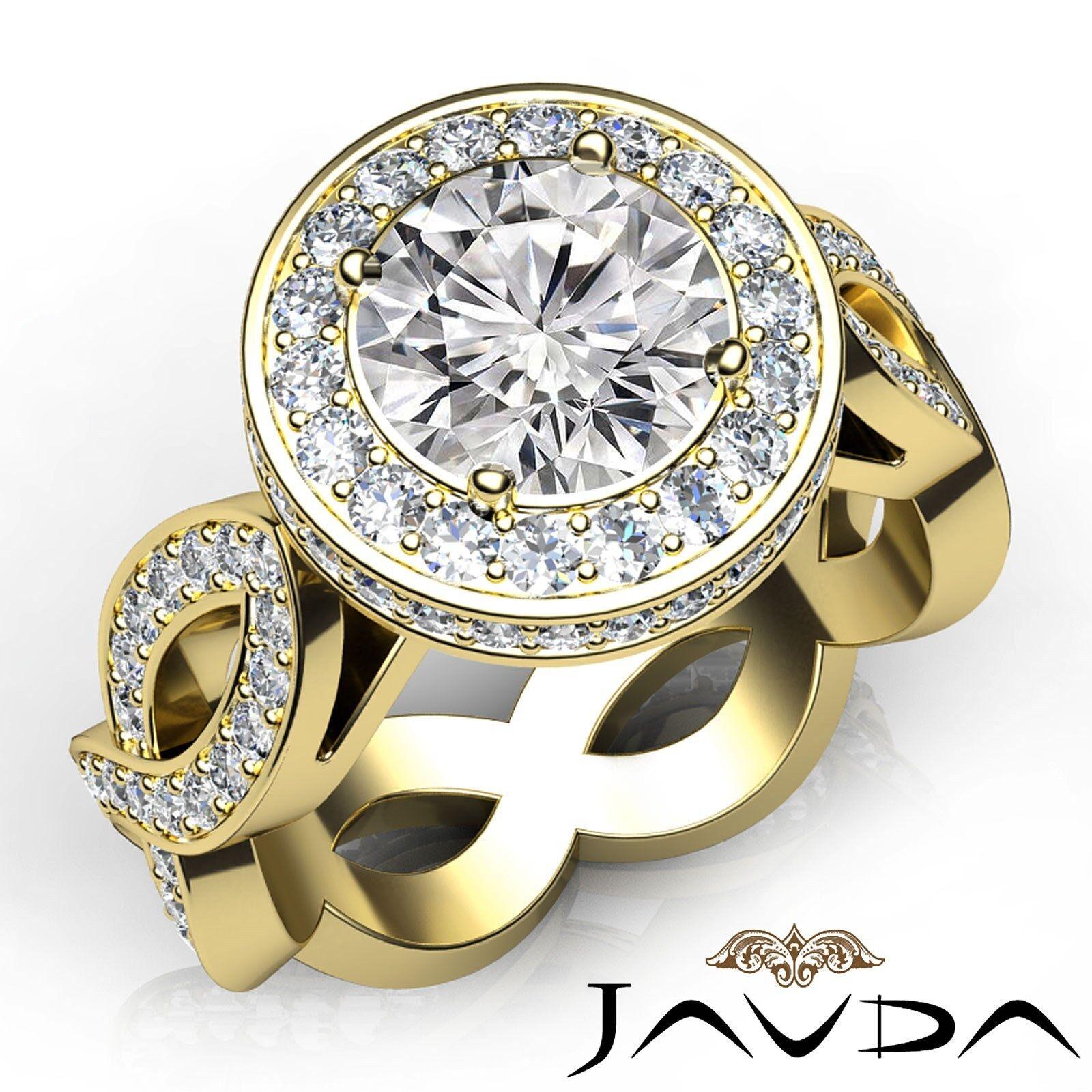 Filigree Design Cross Shank Halo Round Diamond Engagement Ring GIA F VS2 2.8 Ct