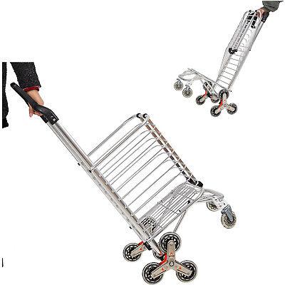 Vilobos Folding Shopping Cart Aluminum Stair Climbing Trolley Grocery Laundry