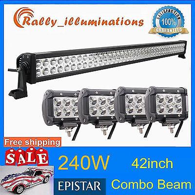 "HOT 42"" 240W COMBO LED LIGHT BAR SUV + 4X 18W CREE OFFROAD DRIVING LAMP CAR JEEP"