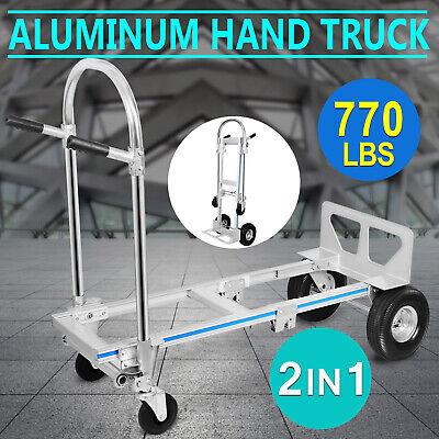 2in1 Aluminum Folding Hand Truck 770lbs Convertible Dolly Platform Cart