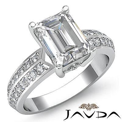 Brilliant Emerald Cut Diamond Women's Engagement Ring GIA I SI1 Platinum 1.3 ct