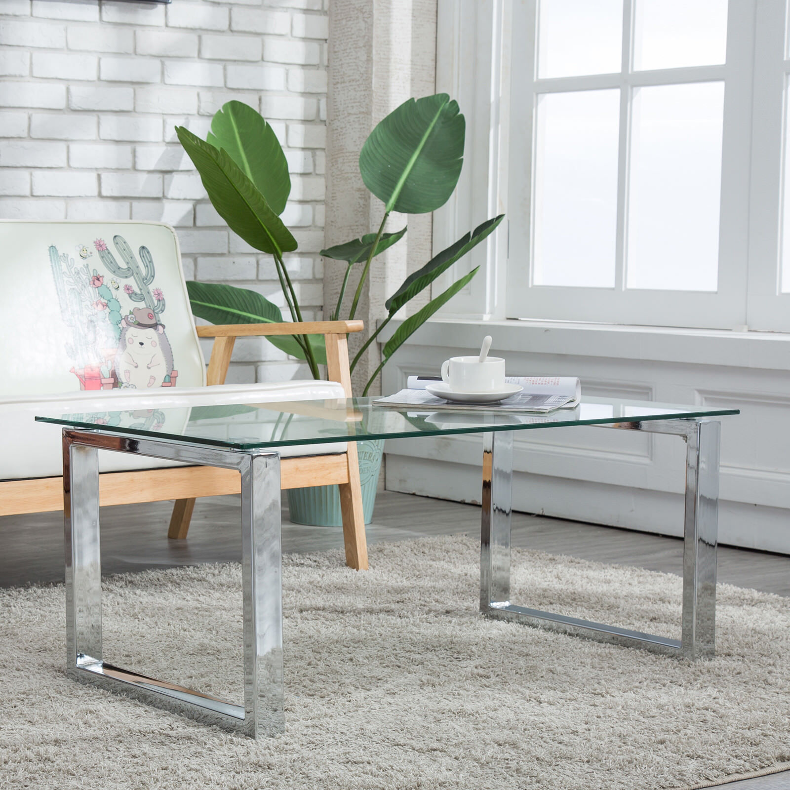 Details About Glass U0026 Stainless Steel Coffee Table Side End Table Living  Room Furniture Clear