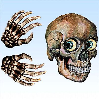 Fensteraufkleber Totenkopf und Hände Fensterbild Fensterposter Bild - Halloween Fenster Aufkleber