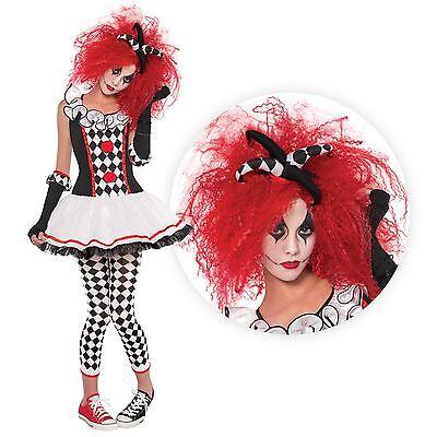 Teen Girls Harlequin Honey + Red Wig Halloween Fancy Dress Circus Jester Costume