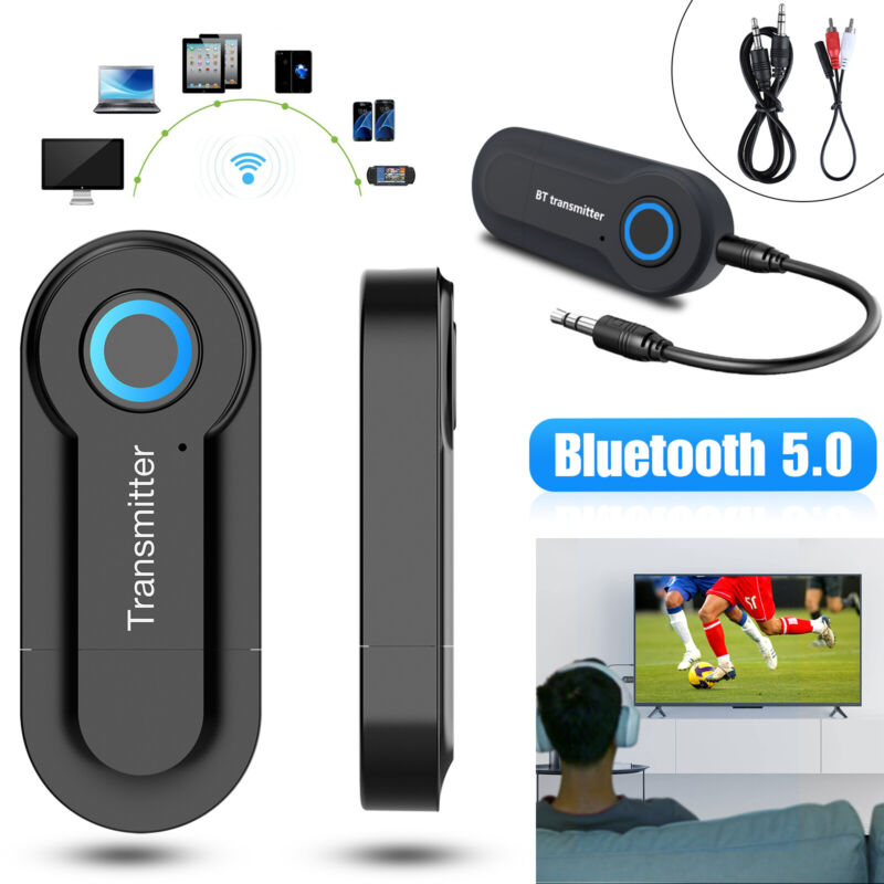 Wireless Bluetooth 5.0 Transmitter 3.5mm Audio RCA to 3.5mm AUX USB Adapter