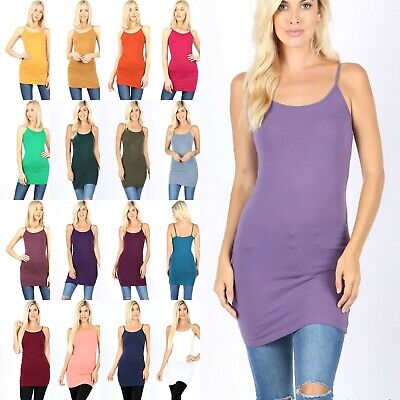 Cotton Long CAMI TANK TOP Mini DRESS Spaghetti Strap Soft Layering Tunic -