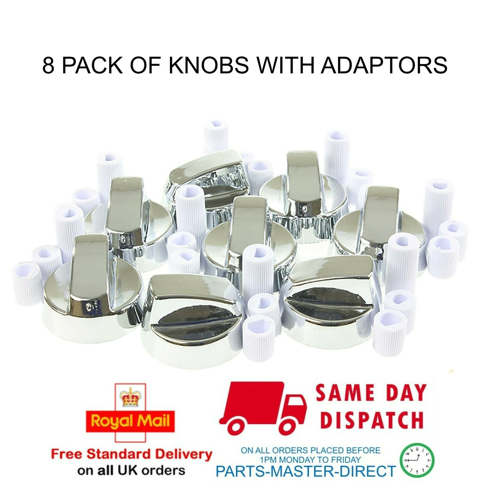 3 x BELLING Silver Grey Oven Cooker Hob Control Knob Switch Adaptor Kit