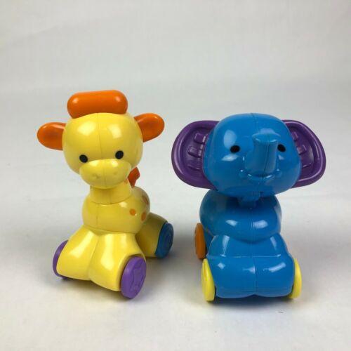 2 mini Fisher-Price Amazing Animals Click Joint Toys Zoo Giraffe Elephant