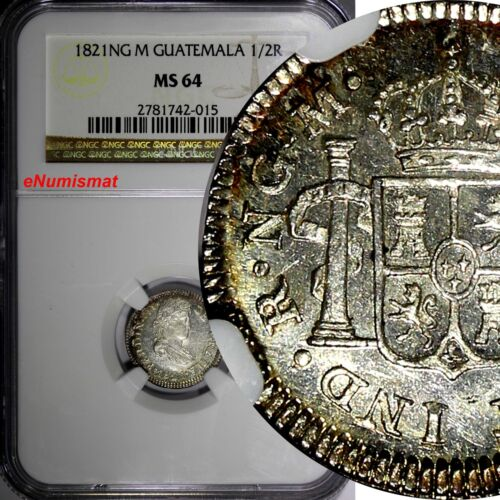 Guatemala Ferdinand VII Silver 1821 NG M 1/2 Real NGC MS64 PROOF LIKE KM# 65