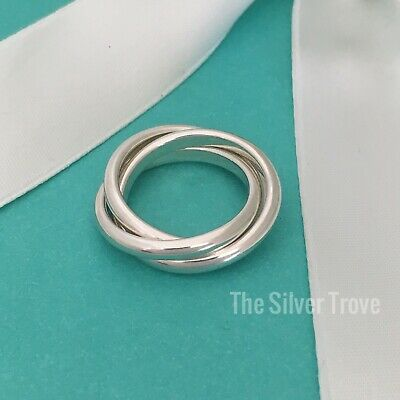Size 5  Tiffany & Co Sterling Silver Rolling Three 3 Triple Band (3 Band Rolling Ring)