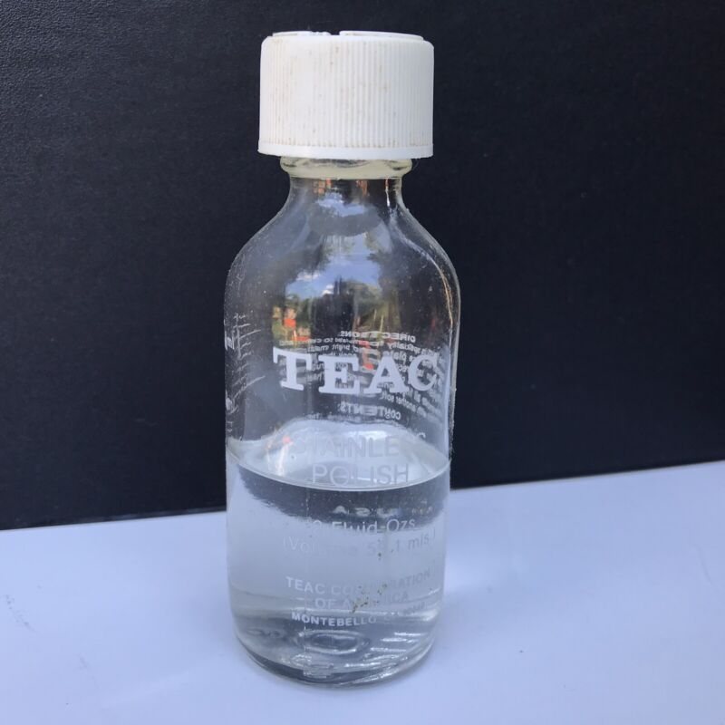Vintage TEAC Stainless Polish 1/2 Empty Bottle HEAD CLEANER Tape Recorders  RARE