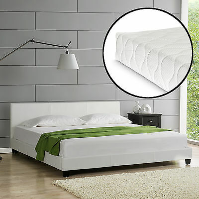 CORIUM® Design Polsterbett + Matratze 160 x 200 cm Kunst-Leder Weiß Doppel Bett